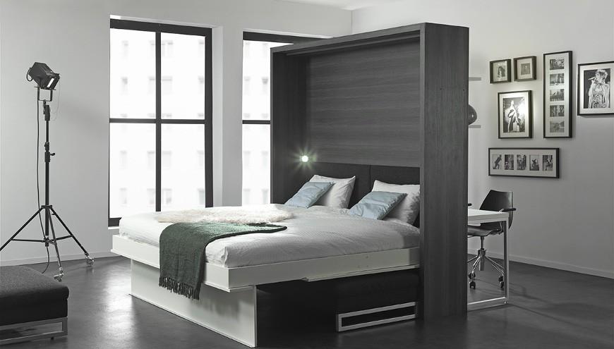 Lit escamotable intégré dans un meuble