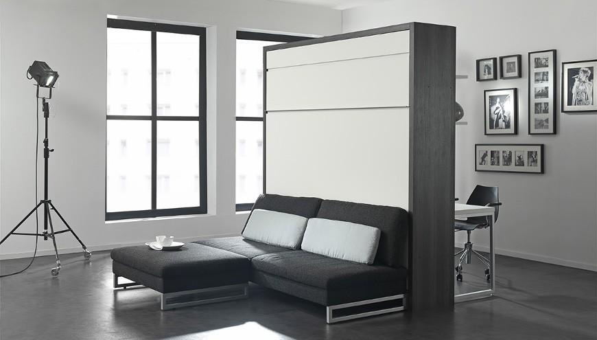 Lit pliable dans un meuble ou un mur